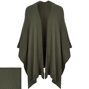 Khaki green knitted cape