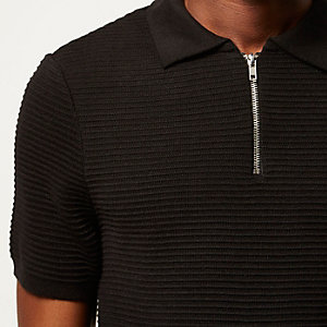 Black textured zip-up polo shirt