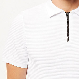 White textured zip neck polo shirt