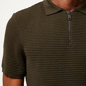 Dark green textured zip up polo shirt