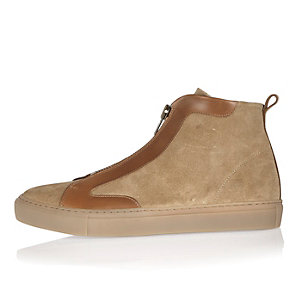 Brown suede zip side high top trainers