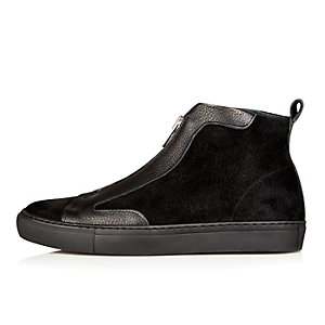 Black suede zip up high top trainers