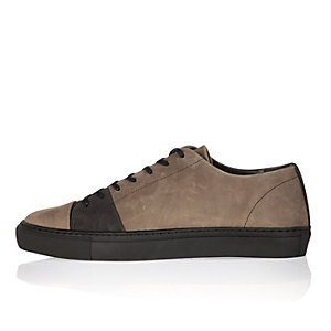 Brown nubuck leather lace-up trainers