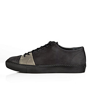 Black nubuck lace-up trainers