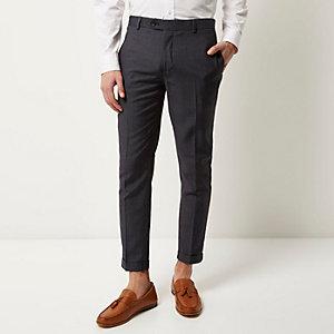 Blue smart skinny crop trousers
