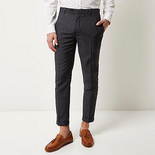 Pantalon skinny bleu habillé coupe courte