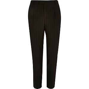 Black smart pinstripe slim tapered trousers