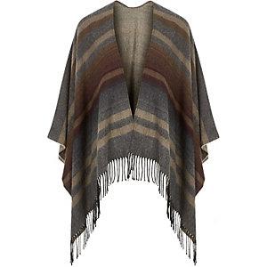 Grey woven stripe cape