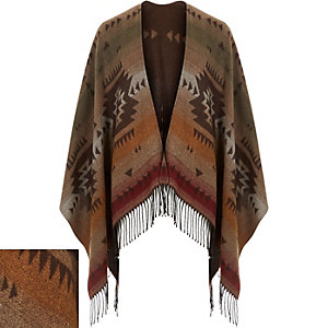 Brown geometric pattern tasselled cape