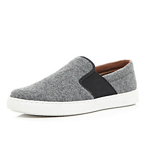 Grey felt slip on sneakers