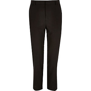 Black smart slim cropped pants