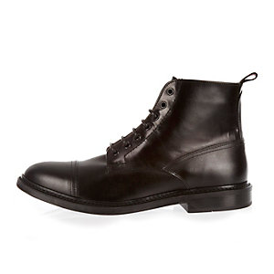 Black smart leather lace-up toe cap boots