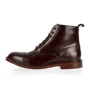 Dark red smart leather lace-up toe cap boots