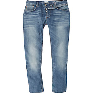 Mid wash cropped Sid skinny stretch jeans