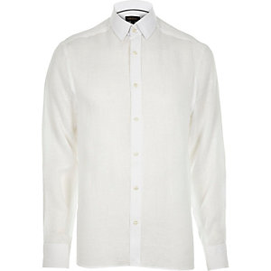 White linen long sleeve shirt