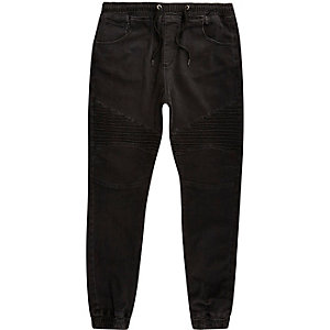 Washed black biker joggers