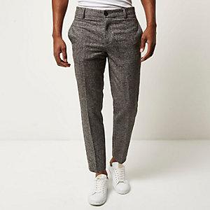 Black tweed slim cropped trousers