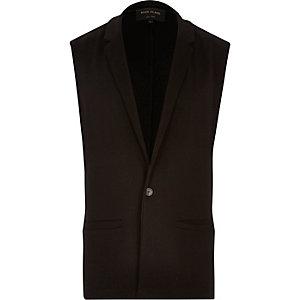 Black tailored sleeveless blazer