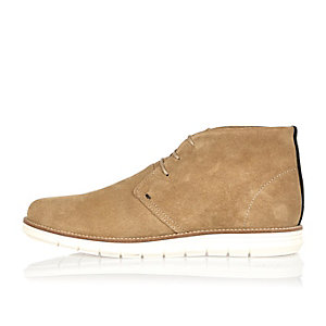 Camel suede wedge chukka boots