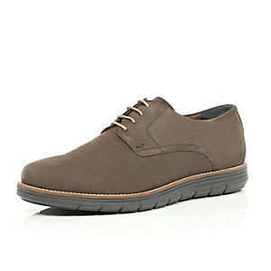 Grey nubuck leather wedge sole shoes