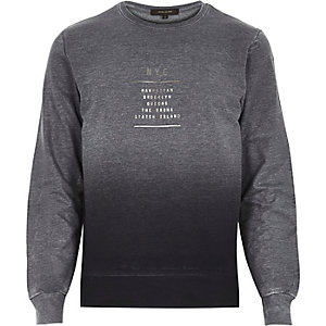 Navy faded NYC print sweatshirt