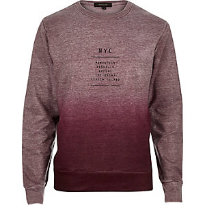 Red faded NYC print sweatshirt
