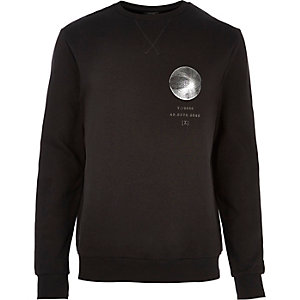Black foil print sweatshirt
