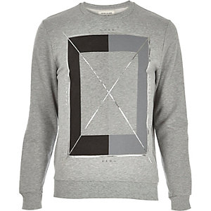 Grey square foil print sweatshirt