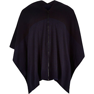 Navy stripe zip-up cape