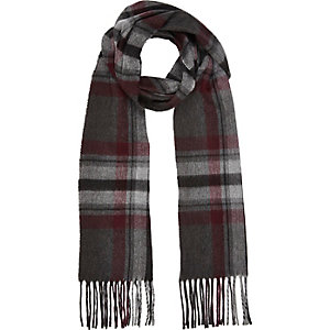 Grey check tassel scarf