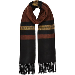 Brown rustic stripe tassel scarf