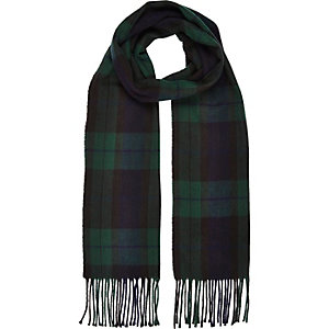 Green woven check tassel scarf