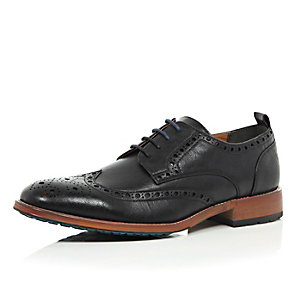 Black colour block sole brogues