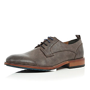 Grey minimal colour block sole derby shoes