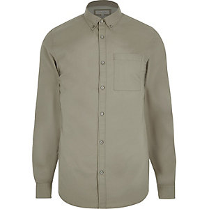 Ecru twill metal button shirt