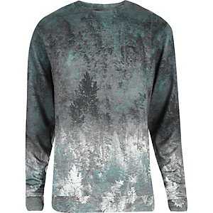 Grey faded tree print sweatshirt