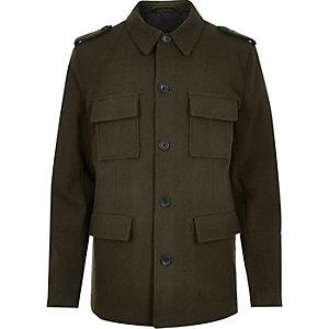 Veste style militaire en laine mélangée verte habillée