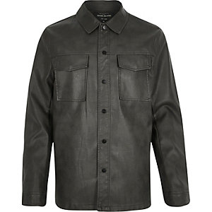 Dark green leather-look shirt jacket
