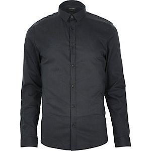 Navy stretch long sleeve shirt