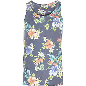 Blue Hawaiian floral vest