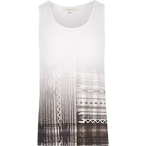 White faded geo print vest