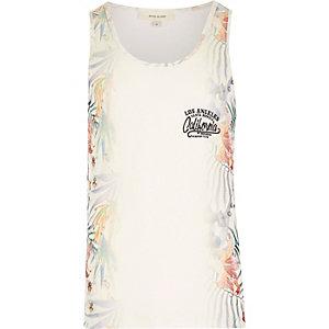 Ecru side floral print vest