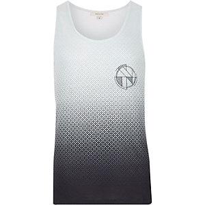 Grey faded geo print vest