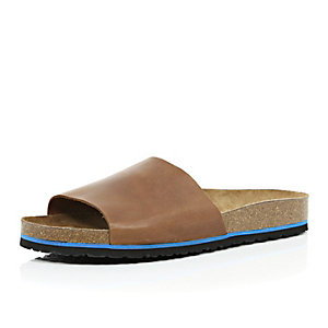 Brown leather slide sandals