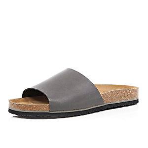 Grey leather slide sandals