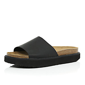 Black leather chunky slide sandals