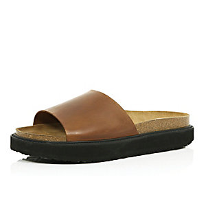 Brown leather chunky slide sandals