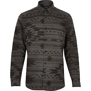 Grey flannel geometric print shirt