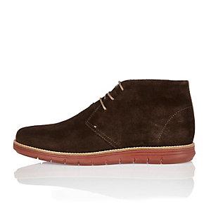 Dark brown suede wedge chukka boots