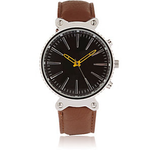 Silver tone sporty face watch